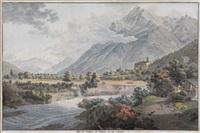 vûe du chateau de wimmis et des environs by johann ludwig aberli