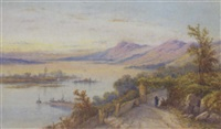 figures resting on a track by a lake by edwin st. john