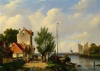 buntes treiben am ufer eines holländischen kanals by a. karssen