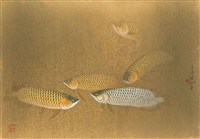 gold and silver arowana by lin hukui
