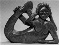 sedna reclining, holding her upswept tail by koomwartok ashoona