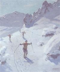 vier skifahrer im hochgebirge by fritz freund