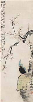 桃花鹦鹉 (peach blossom and parrot) by qi baishi and ma wanli
