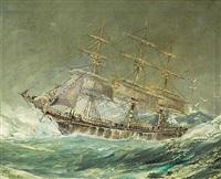 ship on rough seas by robert j. lie