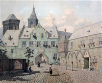 the courtyard of palace at cleeves by johannes huibert (hendric) prins