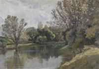 pêcheur au bord d'une rivière by edme-emile laborne