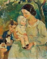 die kinder des künstlers mit ihrem kindermädchen by armando spadini
