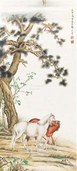 双马图 立轴 设色纸本 by ma jin