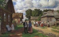 russisk landsbygade med personer by a. pichnin