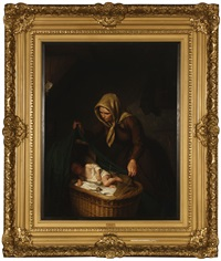 mother adjusting a blanket over a sleeping child's crib in an interior by john gast