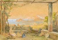 panorama bei neapel mit blick auf den vesuv, im vordergrund eine junge frau mit zwei kindern nebst einer säule mit wappenschild by alberto vianelli
