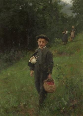 junge mit tasse und korb auf einer wiese by wilhelm g hasemann