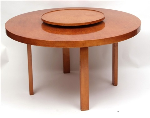 Alvar Aalto For Finmar Ltd Mid Century Birch Circular Dining Table With  En Suite