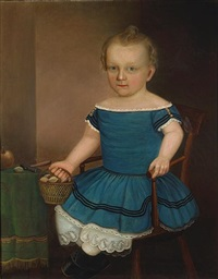 seated boy with a basket of chestnuts by joseph whiting stock