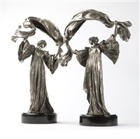 scarf dancers, mounted as lamps (pair) by agathon léonard