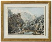 vue du mont pelissier à l'extrémité de la petite vallée de servoz (watercolors by f. monty) by jean daniel huber