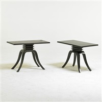 two pedestal side tables by paul t. frankl