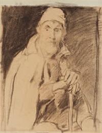 der alte feissli mit stock und mütze (+ kinder in der schulstube, verso) by jean-antoine-simeon fort