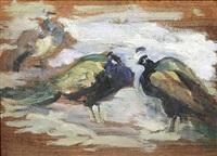 drei pfauen im schnee by leo von könig