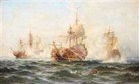 linjeskeppet wachtmeisters strid mot en rysk eskader 1719 by ludvig otto richarde