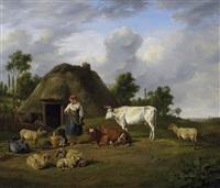 landleben. bäuerin mit ihrem vieh auf der wiese vor dem gehöft. im hintergrund blick in eine weite dünenlandschaft by james de rijk