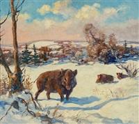 wildschweine in verschneiter landschaft by oldrich homolác