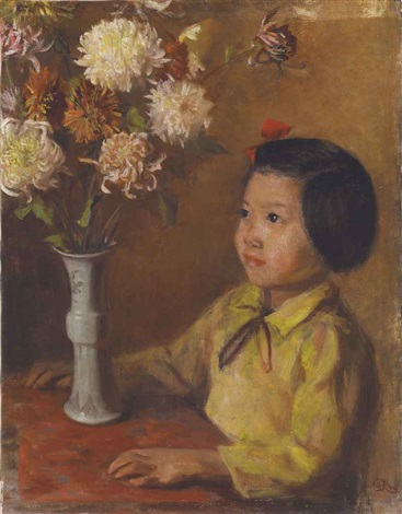 little girl and chrysanthemum by qin xuanfu