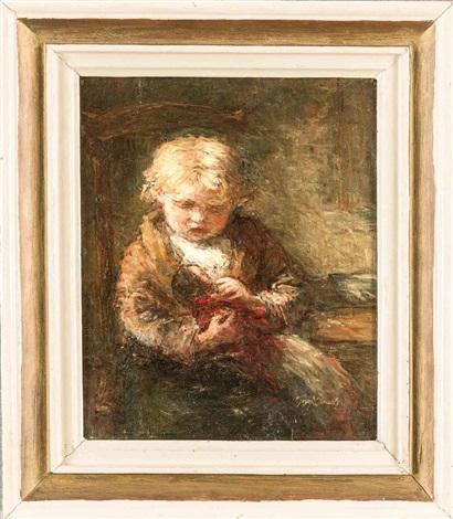 bildnis eines kindes mit puppe in dunkler stube by jozef israëls