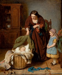 interieur mit mutter und zwei kindern by george smith