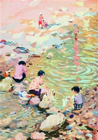 洗衣 (washing clothes) by du yongqiao