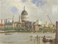 st. paul's from the thames by norman wilkinson