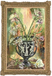 lilies in a grecian vase by jack lawrence miller
