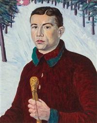 selbstportrait vor winterlandschaft by jean lehmann