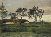 evening light on a peasant farm by georg nicolaj achen