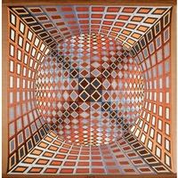 cashmere and silk tapestry with wooden hangers by victor vasarely