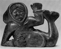 sedna reclining, wearing an amoutik by koomwartok ashoona