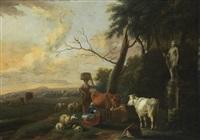 landschaft mit zwei mägden und viehherde by sebastiaen (bastiaen) heemskerck
