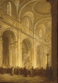 the interior of st. paul's cathedral, london by jacobus cornelis wyand cossaar