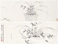 orchids bamboo and rock by xue susu