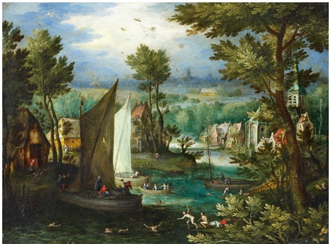 river landscape with bathing figures and boats by jan brueghel the elder