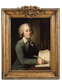 portrait of a young man writing by lié-louis périn-salbreux