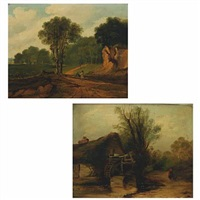 people walking in a landscape (+ a water mill; 2 works) by george thorn roe