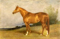 portrait of a chestnut mare in a landscape by arthur lewis townshend