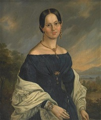 a portrait of a lady in blue (+ a portrait of a gentleman; pair) by american school-california (19)