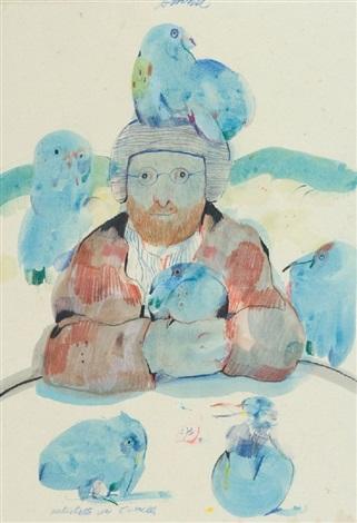 autoritratto con sei uccelli by antonio possenti