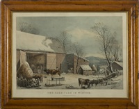 the farm yard in winter by george henry durrie