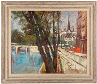 along the seine, paris, behind notre dame by oscar van young