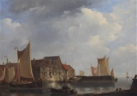 port avec barques de peche by johannes christiaan schotel