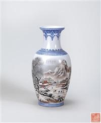 粉彩 雪霁图 瓶 by ling zongzheng