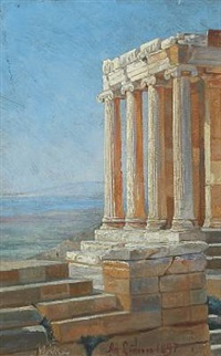 view from acropolis with temple of nike by agnes cathinka vilhelmine lunn